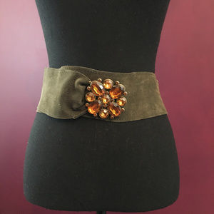 Vintage Look Green Suede Belt Orange Buckle